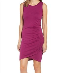 LEITH Ruched Tank Dress Small Magenta